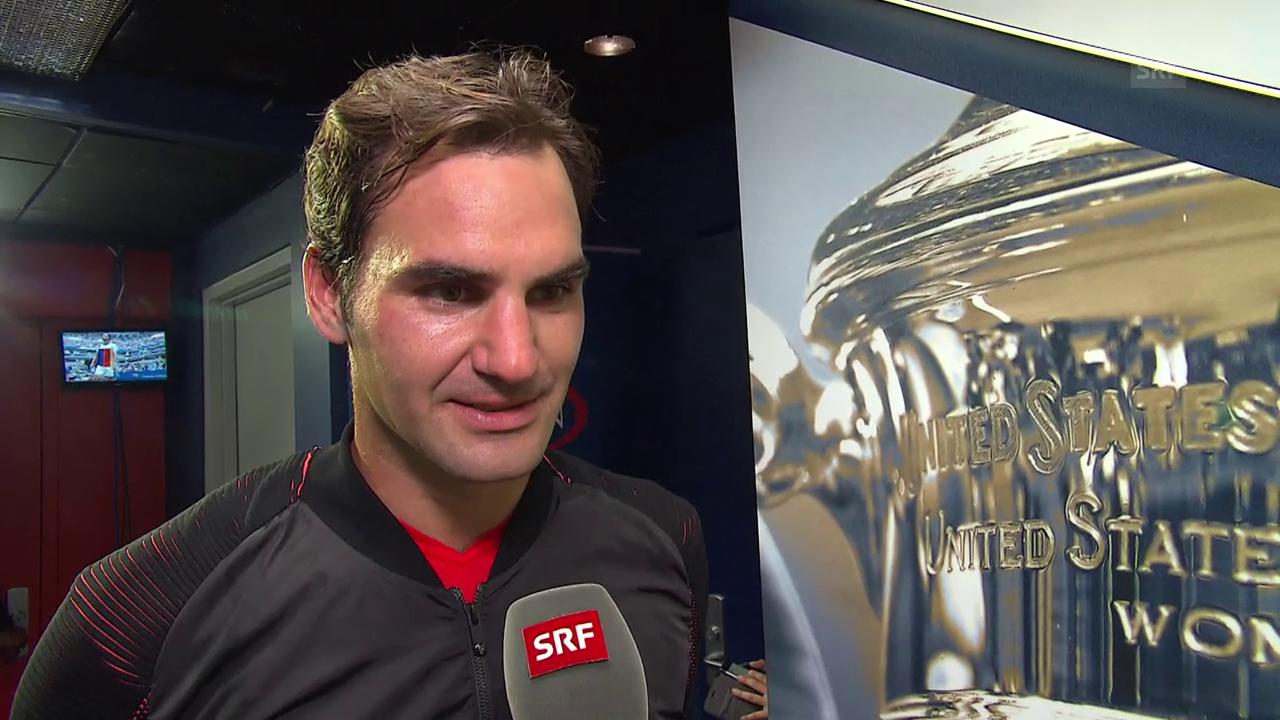 Roger Federer im Interview nach seinem Sieg über Michail Juschni