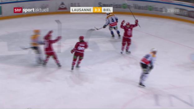 Video «Lausanne bleibt auch gegen Biel im Hoch» abspielen