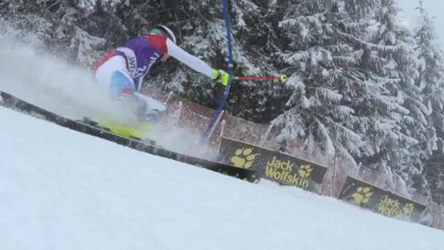Video «Ski alpin: Slalom Wengen, 2. Lauf von Yule» abspielen