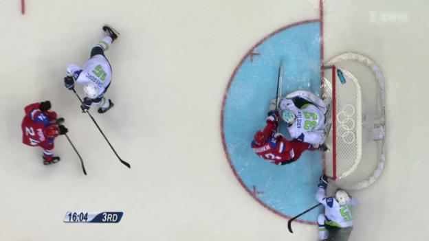 Video «Eishockey: Russland startet gegen Slowenien ins Turnier» abspielen
