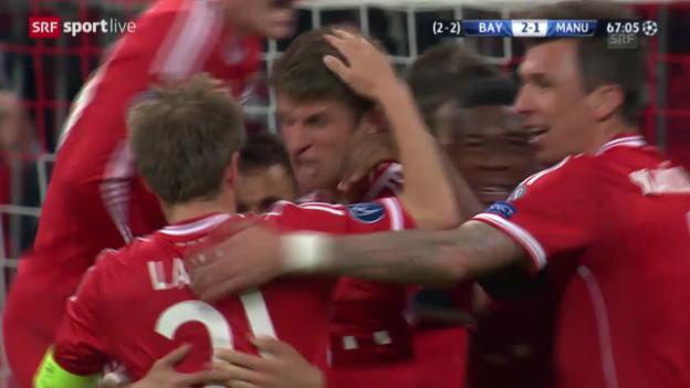 Video «Fussball: Champions League, Bayern München - Manchester United, Highlights» abspielen