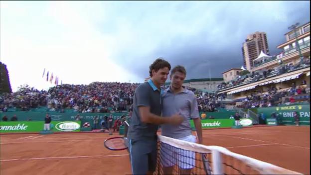 Video «Monte Carlo 2009: Wawrinka schlägt Federer» abspielen