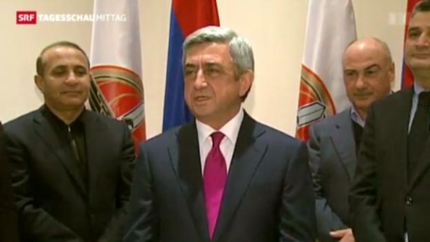 Video «Wiederwahl von Armeniens Präsident Sargsjan» abspielen