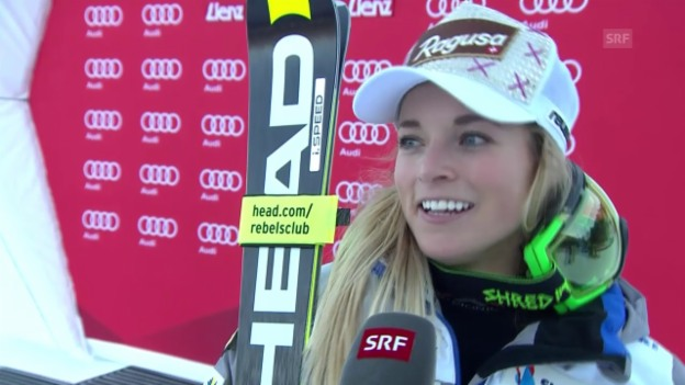 Video «Ski: RS Frauen Lienz, Siegerinnen-Interview Lara Gut» abspielen
