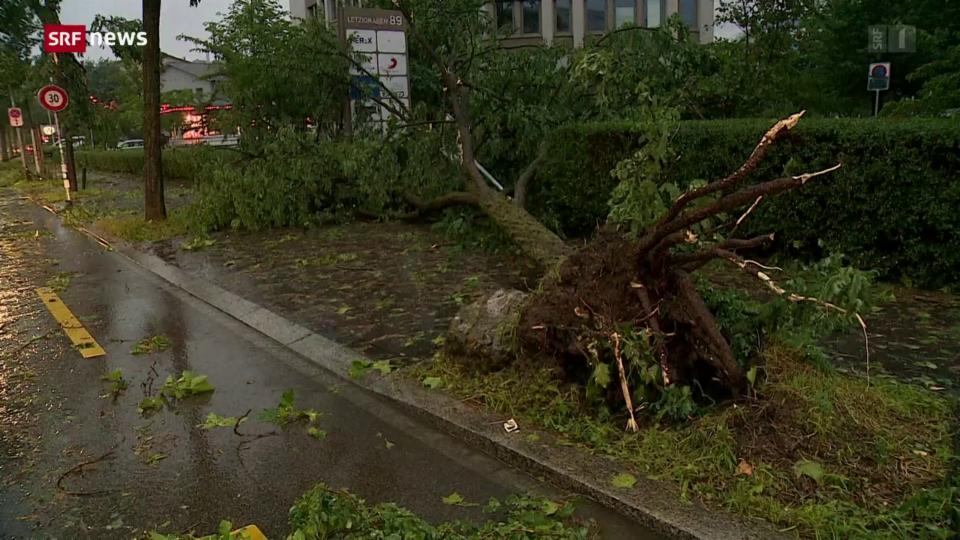 Heftiger Gewittersturm trifft die Stadt Zürich
