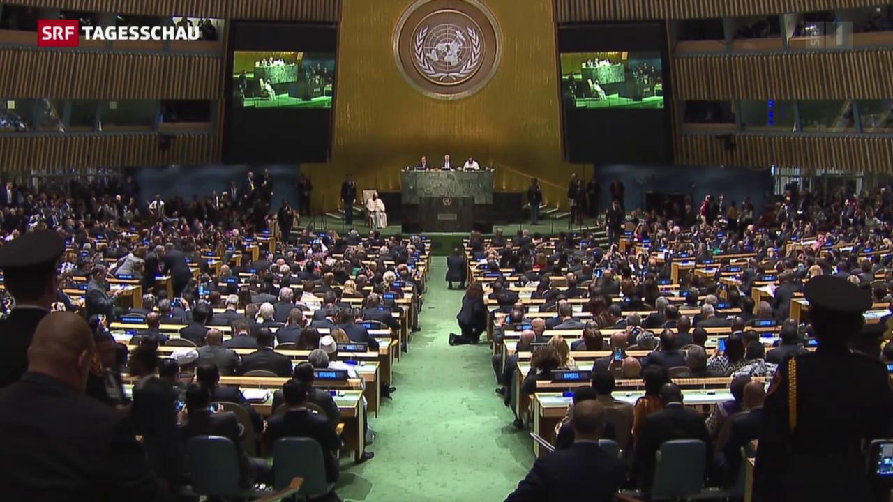 Papst Franziskus warnt vor der UNO-Vollversammlung