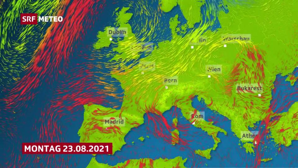 Aus Norden erreicht uns relativ kühle Luft bis Ende August.