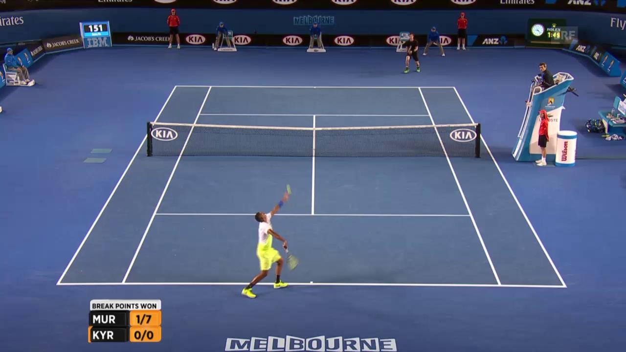 Tennis: Australian Open: Murray - Kyrgios, Break Murray im 3. Satz