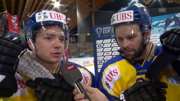 Video «Eishockey: Spengler Cup, Davos-Jekaterinburg, Interview mit Forster/Nater» abspielen