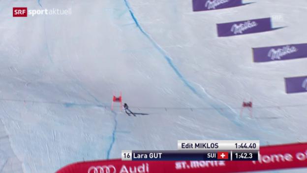 Video «Ski: Weltcup, Abfahrt Frauen in St. Moritz («sportaktuell»)» abspielen