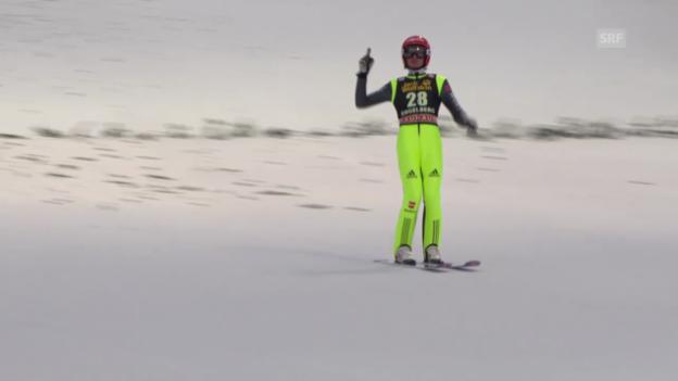 Video «Skispringen: Weltcup in Engelberg, 2. Sprung von Richard Freitag» abspielen