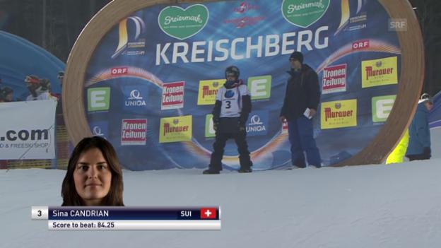 Video «Snowboard: Freestyle-WM - Slopestyle 1. Final-Lauf Sina Candrian» abspielen