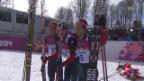 Video «Langlauf: Zusammenfassung 50 km Massenstart-Rennen der Männer (23.2.2014)» abspielen