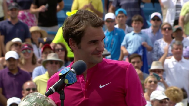Video «Tennis: Federers Siegerinterview Cincinnati» abspielen
