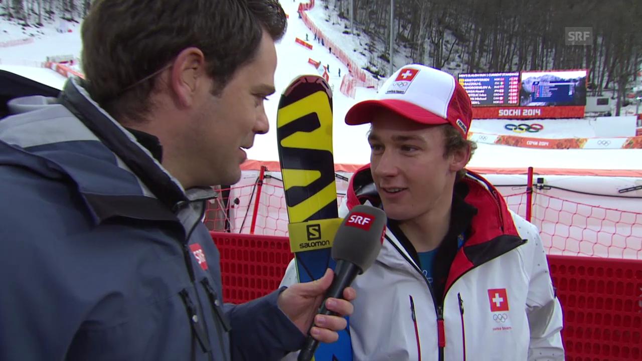Ski Alpin: Slalom der Männer, Interview mit Luca Aerni (sotschi direkt, 22.2.2014)