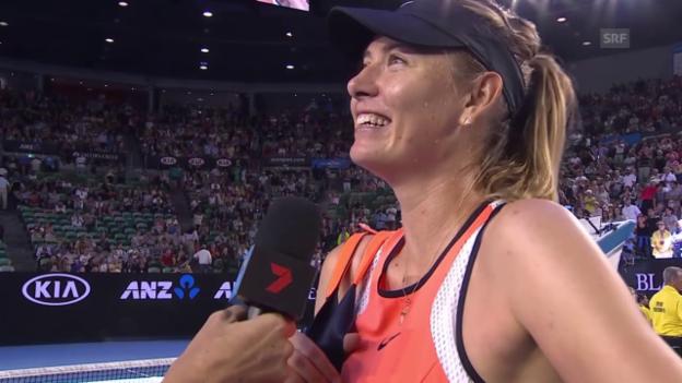 Video «Maria Scharapowa im Interview nach ihrem Sieg über Belinda Bencic an den Australian Open» abspielen