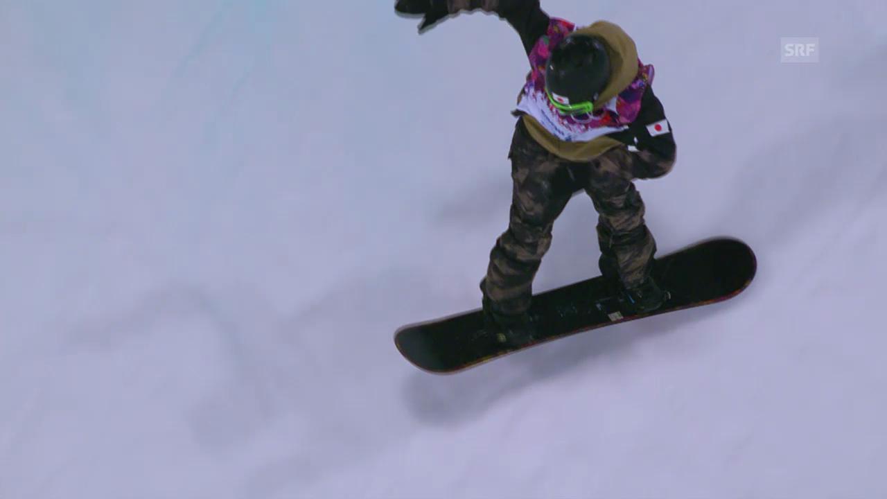 Snowboard-Halfpipe: 1. Final-Run von Taku Hiraoka (sotschi direkt, 11.02.2014)