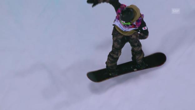 Video «Snowboard-Halfpipe: 1. Final-Run von Taku Hiraoka (sotschi direkt, 11.02.2014)» abspielen