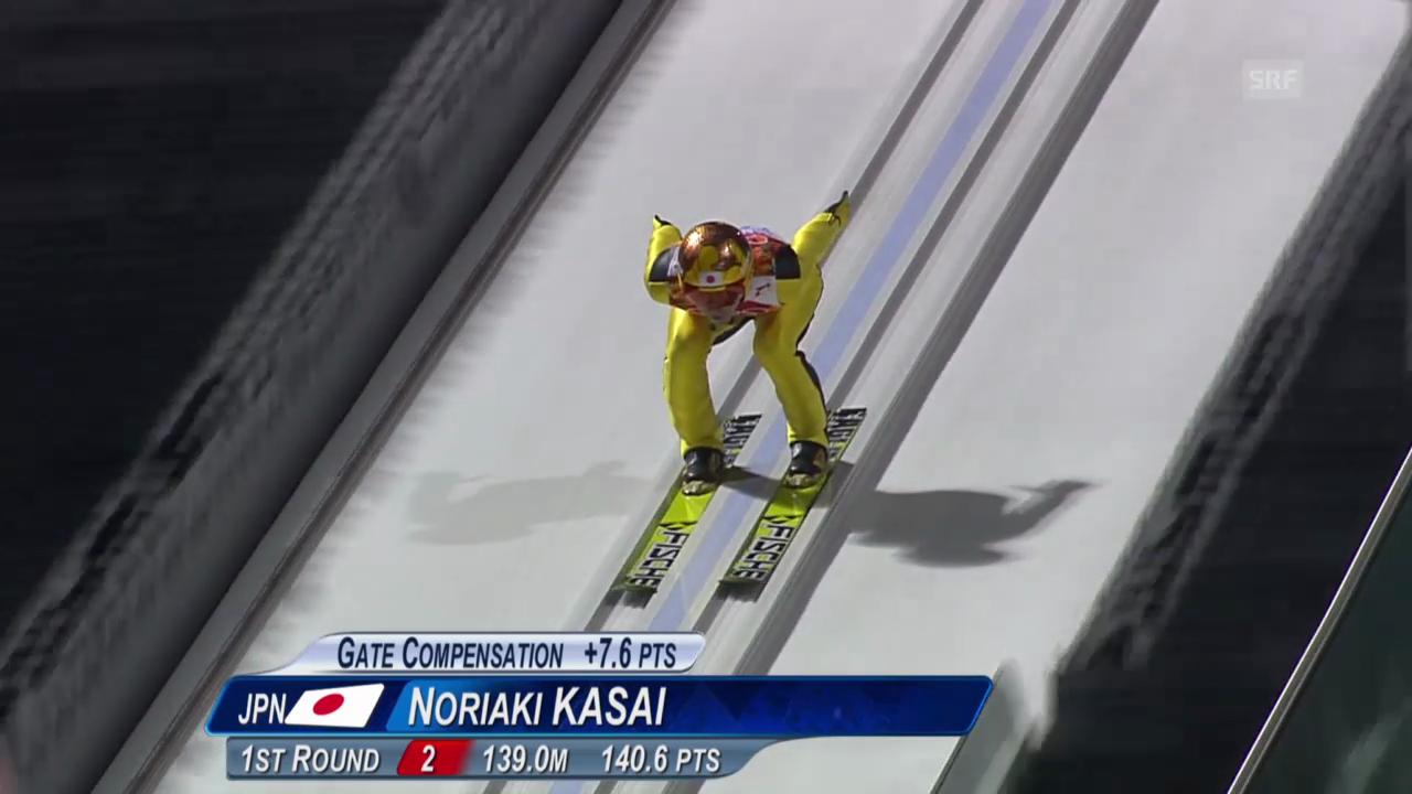 Skispringen: Grossschanze Männer, 2. Sprung Noriaki Kasai (sotschi direkt, 15.02.2014)