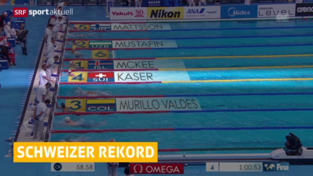 Video «Schwimmen: Käser senkt Rekord über 100 m Brust» abspielen