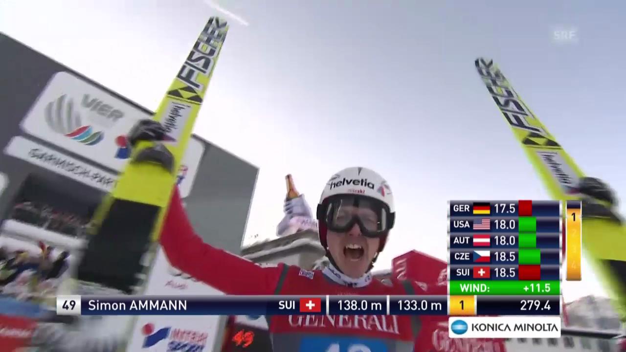 Skispringen: Garmisch, 2. Durchgang, Sprung Simon Ammann
