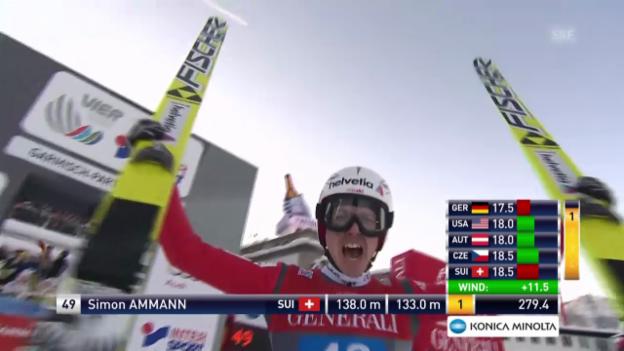 Video «Skispringen: Garmisch, 2. Durchgang, Sprung Simon Ammann» abspielen