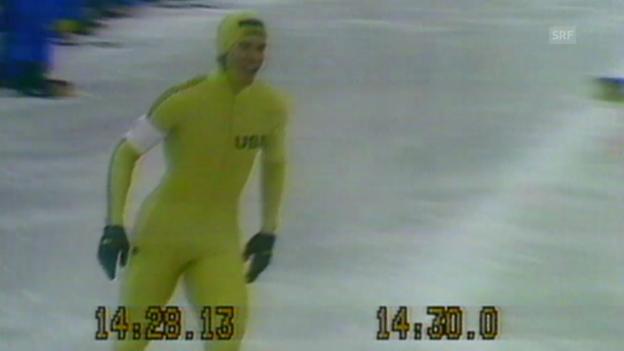 Video «Eisschnelllauf: Lake Placid 1980, 10'000 m, Zieleinlauf von Eric Heiden (SRF-Archiv)» abspielen
