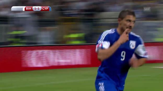Video «FUSSBALL: Christofi trifft zweimal für Zypern» abspielen