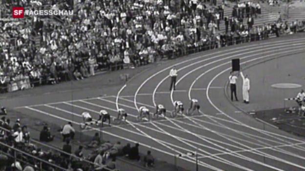 Video «Leichtathletik: Als Armin Hary als erster Mensch die 100 m in 10,0 Sekunden lief» abspielen