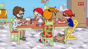 Laschar ir video «Episoda 4: Nic e'ls spaghets - Vallader»