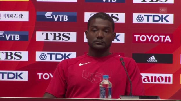 Video «Leichtathletik: WM Peking 2015, Pressekonferenz mit Justin Gatlin» abspielen