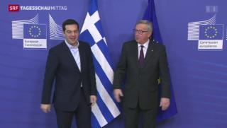 Video «Tsipras trifft Juncker in Brüssel» abspielen
