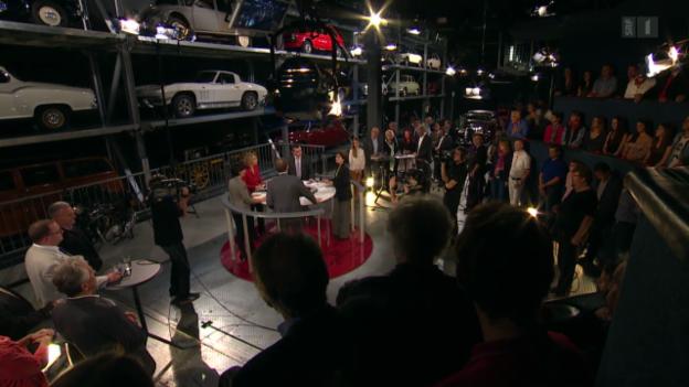 Video ««Arena vor Ort»: 100 Franken Vignette: Die Abstimmungs-Debatte im Verkehrshaus Luzern» abspielen