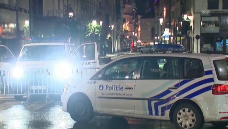 Polizeikräfte sperren verschiedene Strassen im Zentrum Brüssels
