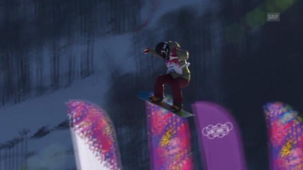 Video «Sotschi: Snowboard Slopestyle Frauen, Qualifikation, 2. Lauf von Elena Könz» abspielen