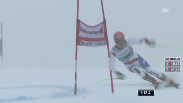 Video «Ski: Thomas Tumlers 1. Lauf beim RS in Beaver Creek» abspielen