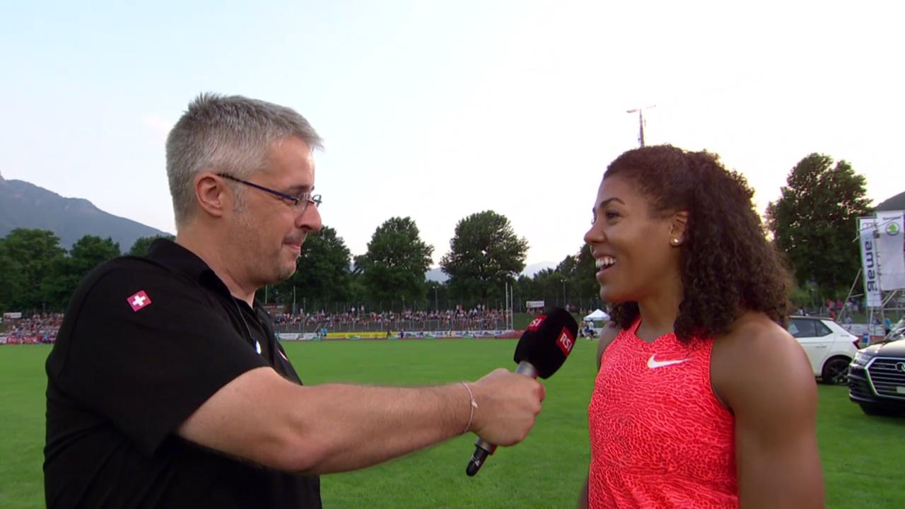 LA: Bellinzona, 100 m, Interview Kambundji