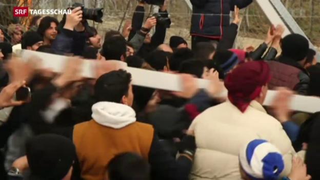 Video «Situation an mazedonisch-griechischer Grenze eskaliert» abspielen