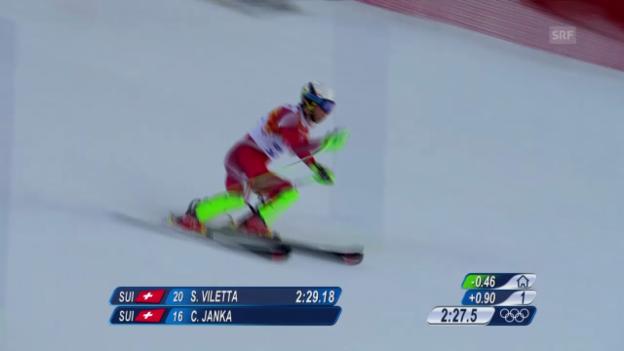 Video «Ski, Kombinations-Slalom, Fahrt von Carlo Janka (sotschi direkt, 14.02.14)» abspielen
