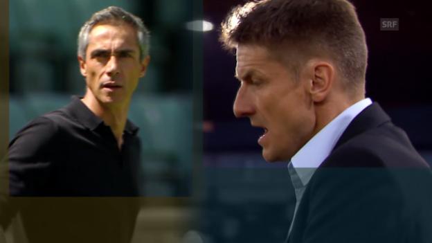 Video «Fussball: Super League, die unterschiedlichen Trainer-Mentalitäten von Urs Meier und Paulo Sousa» abspielen