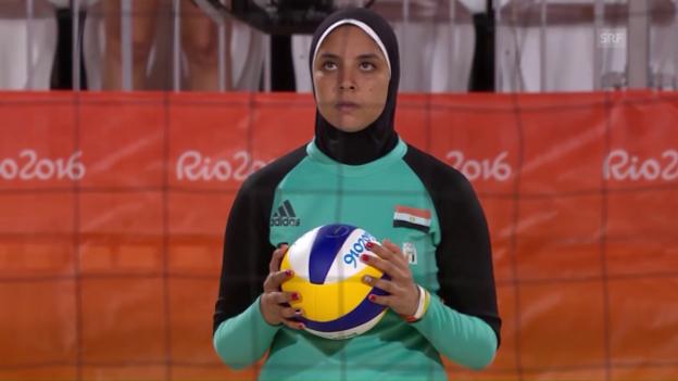 Video «Beachvolleyball: Die Ägypterin El-Ghobashy spielt mit Kopftuch» abspielen
