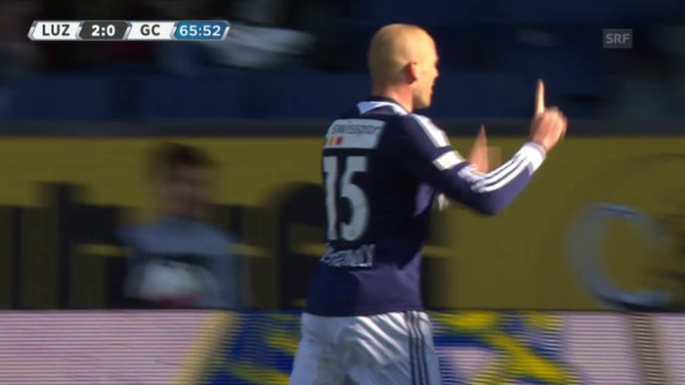 Video «Fussball: Super League, 28. Runde, Luzern - GC, 2:0 Schneuwly» abspielen