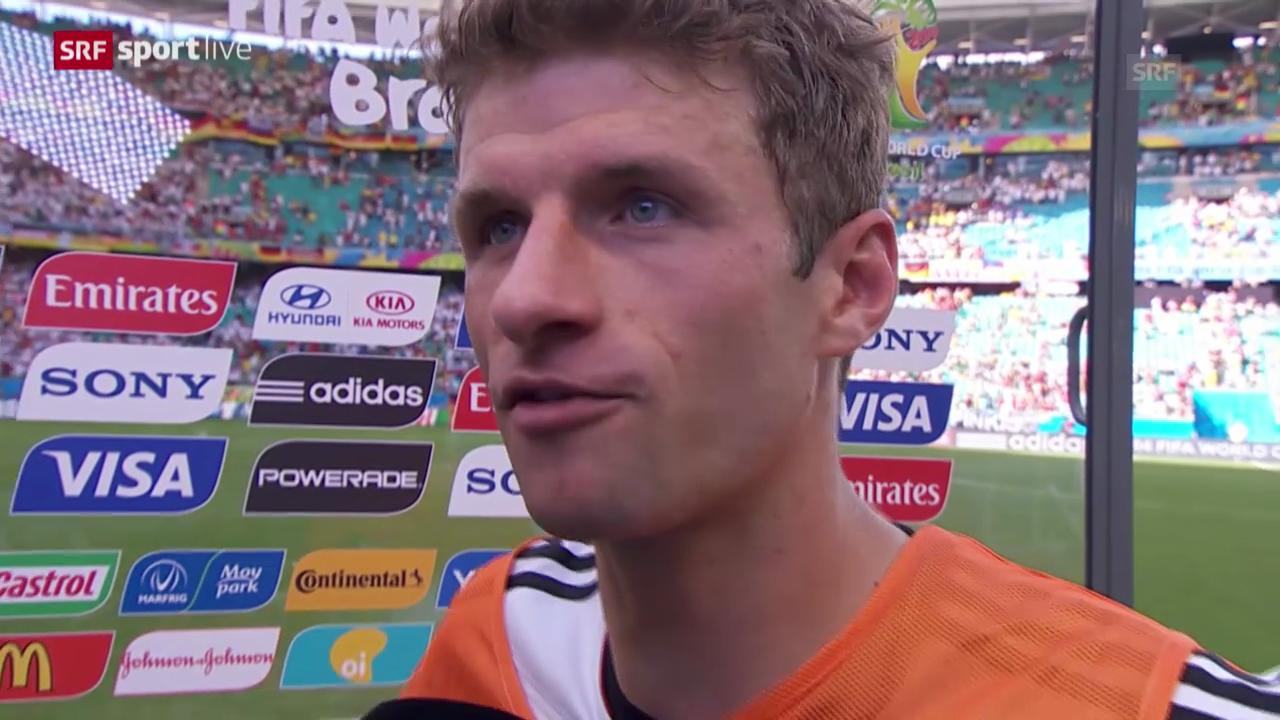 WM 2014: GER-POR, Thomas Müller nach dem Spiel