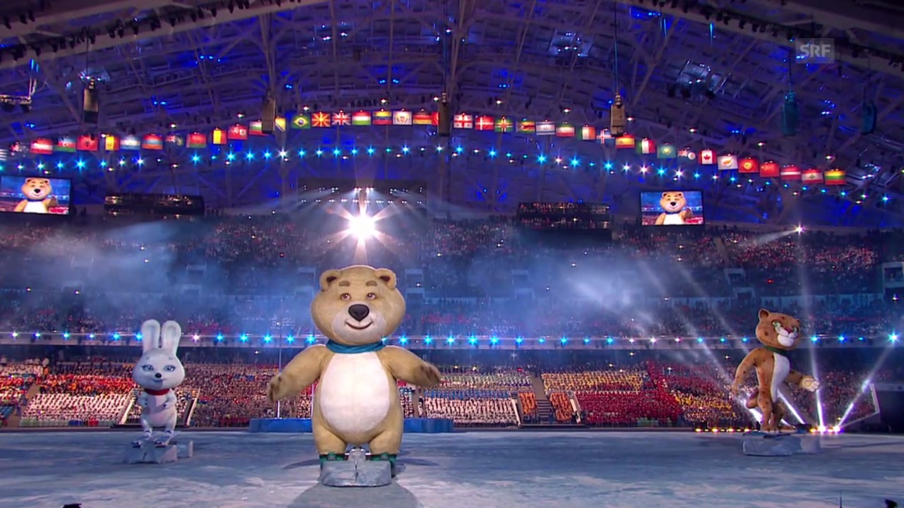 Sotschi: Eröffnungsfeier, die Maskottchen Einmarsch Russland («Sotschi direkt», 07.02.14)