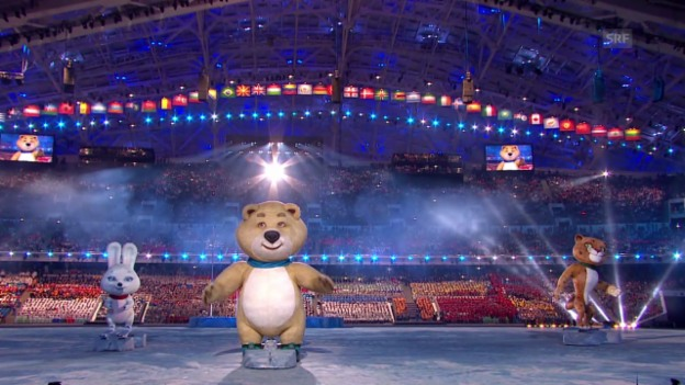 Video «Sotschi: Eröffnungsfeier, die Maskottchen Einmarsch Russland («Sotschi direkt», 07.02.14)» abspielen