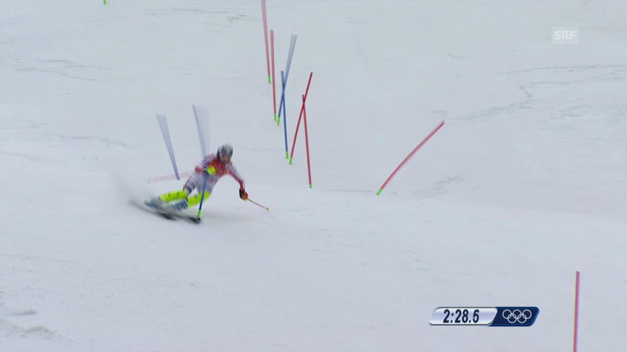 Ski: Kombi-Slalom Frauen, Fahrt Maria Höfl-Riesch (sotschi direkt, 10.2.2014)