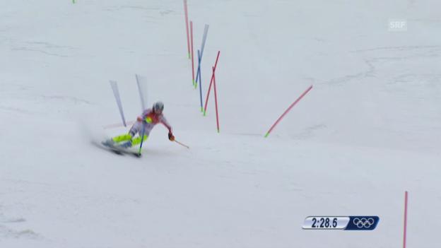 Video «Ski: Kombi-Slalom Frauen, Fahrt Maria Höfl-Riesch (sotschi direkt, 10.2.2014)» abspielen