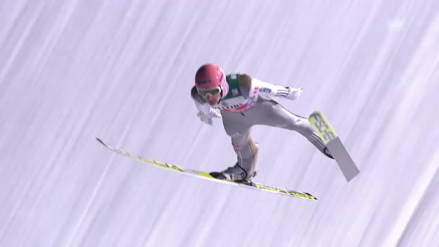 Video «Skispringen: Vierschanzentournee, Zusammenfassung Wettkampf Garmisch» abspielen