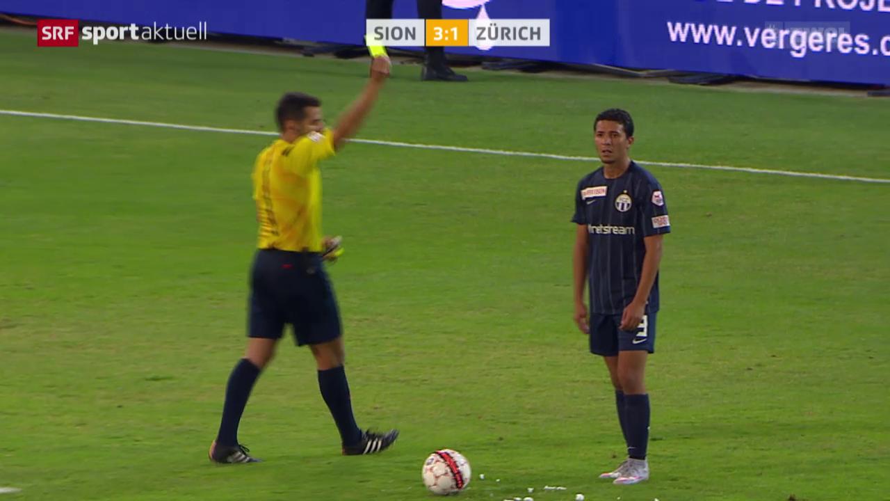 Fussball: Sion - FCZ, gelb-rot Chermiti