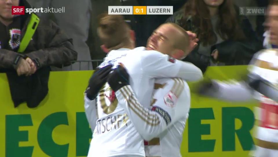Fussball: Aarau - Luzern, Assist Jantscher 1:0